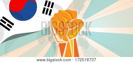 South Korea fight and protest independence struggle rebellion show symbolic strength with hand fist illustration and flag vector