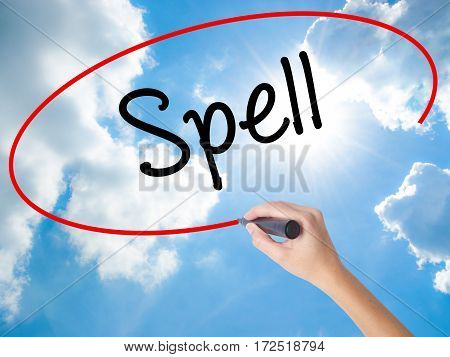 Woman Hand Writing Spell With Black Marker On Visual Screen