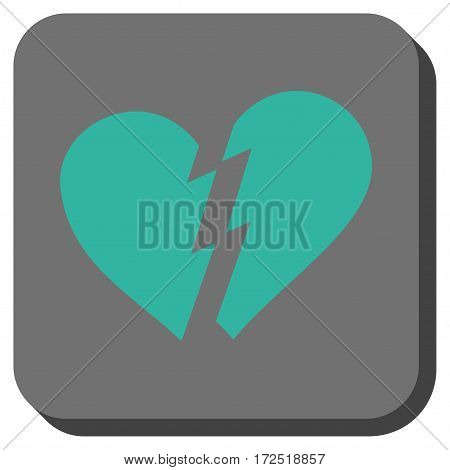 Broken Heart interface button. Vector pictogram style is a flat symbol on a rounded square button cyan and gray colors.