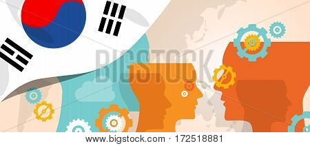 South Korea concept of thinking growing innovation discuss country future brain storming under different view represented with heads gears and flag vector