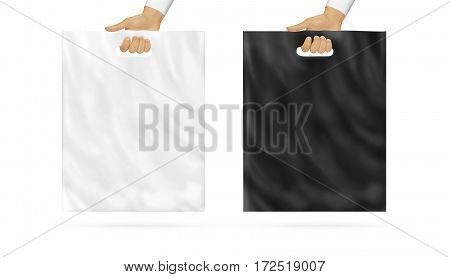 Blank plastic bag mock up set holding in hand. Empty polyethylene package mockup, black and white, hold in arms isolated. Consumer pack ready for logo or identity presentation. Product food packet.