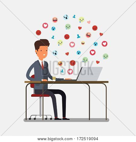 Concept of procrastination. Businessman spends time on the Internet. Flat design, vector illustration.
