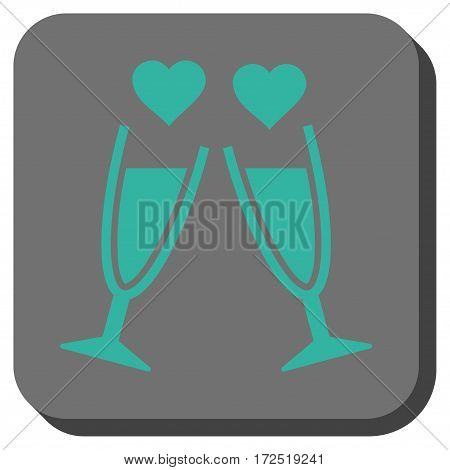 Clink Glasses rounded button. Vector pictogram style is a flat symbol on a rounded square button cyan and gray colors.