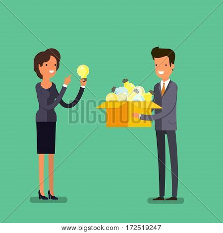 Concept of idea. Business man and woman with box and light bulb. Flat design, vector illustration.