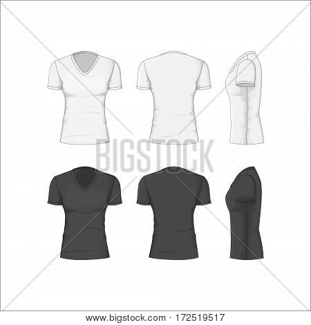 Woman T-shirt White and Black Cotton Clothing Front, Back and Side View. Classic Garment. Vector illustration