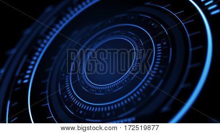 Side view of abstract digital circle on dark background. Hi-tech concept. 3D Rendering. High tech background with hud interface. Abstract digital circle with bright light on dark background.