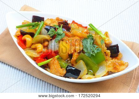 Stirfried chicken with cashew nuts delicious Thaifood