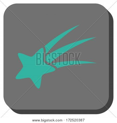 Falling Star interface toolbar button. Vector pictograph style is a flat symbol on a rounded square button cyan and gray colors.