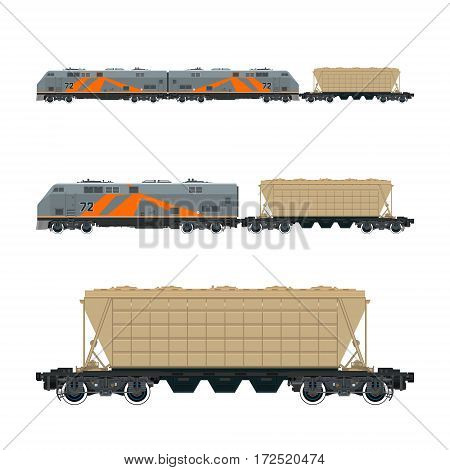 Locomotive with Hopper Car for Transportation Freights , Train Isolated, Railway and Cargo Transport, Vector Illustration