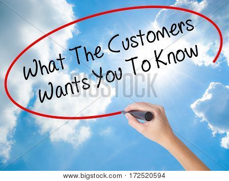 Woman Hand Writing What The Customers Wants You To Know With Black Marker On Visual Screen