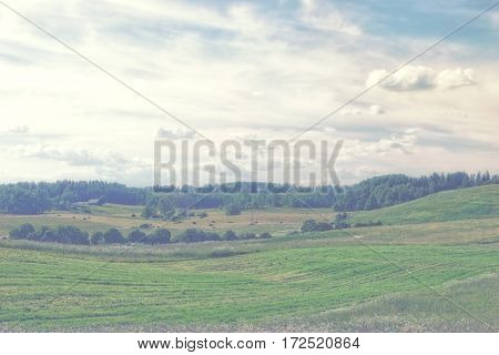 Fields and woods in the early morning at rural landscape with house and haystacks
