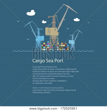 Cargo Crane at the Port at Sea and Text, Containers and Cranes at the Dock, International Freight Transportation, Poster Brochure Flyer Design, Vector Illustration