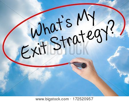 Woman Hand Writing What's My Exit Strategy? With Black Marker On Visual Screen