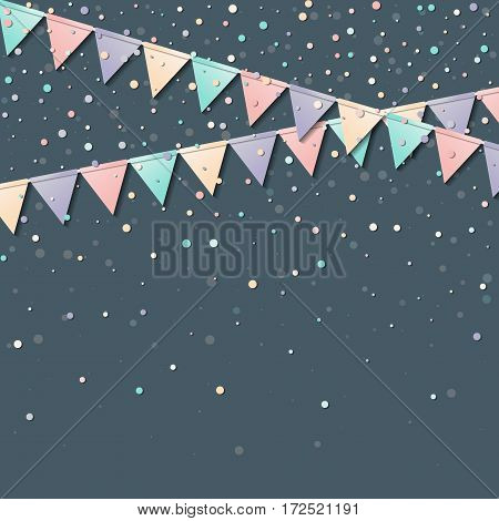 Bunting Garland. Mesmeric Celebration Card With Colorful Paper Bunting Garland And Confetti. Party B