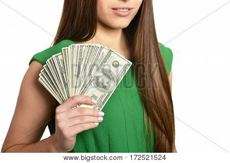 Beautiful woman with money on white background