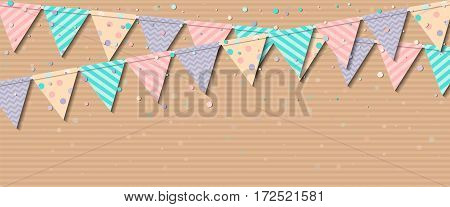 Bunting Garland. Attractive Celebration Card With Colorful Paper Bunting Garland And Confetti. Party