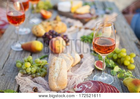 Picnic On The Beach At Sunset In Boho Style, Food And Drink Concept