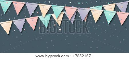 Bunting Garland. Fetching Celebration Card With Colorful Paper Bunting Garland And Confetti. Party B