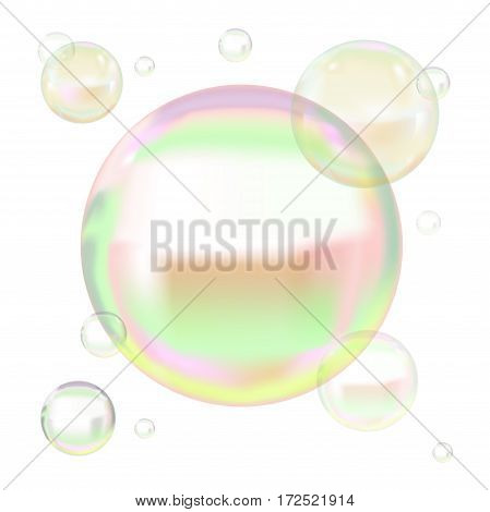 Transparent Soap Bubbles with Reflection on Light Background.Web Design Element Vector illustration