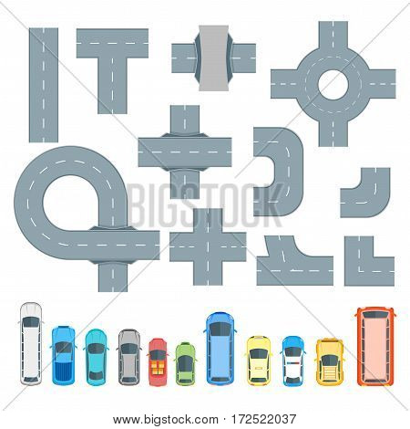 Road Map Design Element and Cars Set Top View Position. Highway Parts. Vector illustration