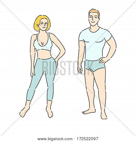 Concept of fitness. Fitness man and woman on white background. Flat design, vector illustration.