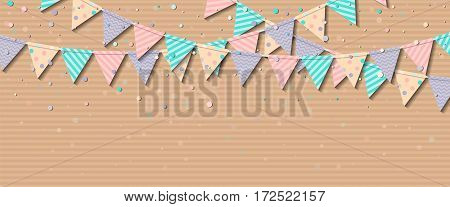 Bunting Flags. Charming Celebration Card With Colorful Paper Bunting Flags And Confetti. Party Backg