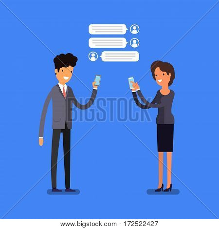 Business concept. Cartoon business people with mobile phones. Modern lifestyle. Flat design, vector illustration.