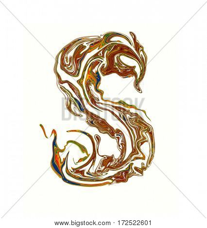 Luxuriously illustrated painted letter S.