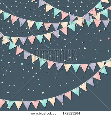 Flag Garland. Excellent Celebration Card With Colorful Paper Flag Garland And Confetti. Party Backgr