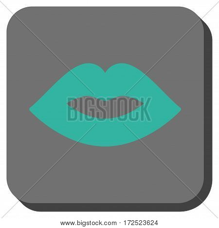 Lips square button. Vector pictograph style is a flat symbol centered in a rounded square button cyan and gray colors.