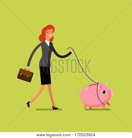 Concept of saving money. Business woman catches piggy bank. Flat design, vector illustration