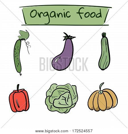 Set of hand drawn color vegetables icons. Vector illustration
