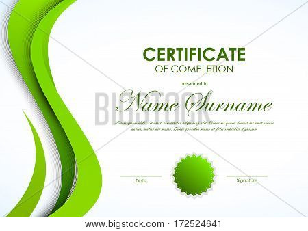 Certificate of completion template with green curved smooth wavy background and seal. Vector illustration