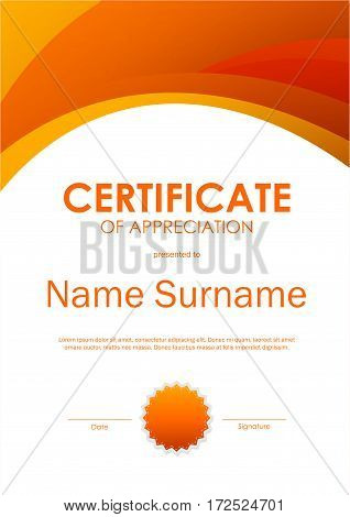 Certificate of appreciation template with wavy dynamic light background and seal. Vector illustration