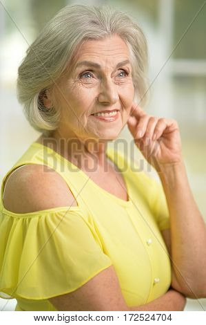 Portrait of a beautiful senior woman close up