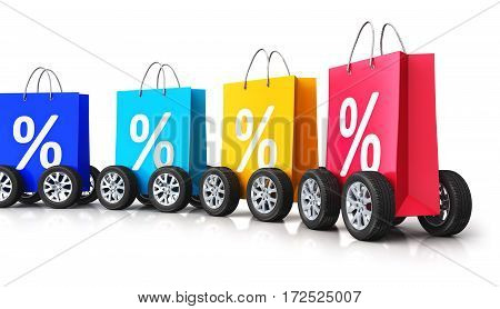 3D render illustration of train from the group of color paper shopping bags with percent text signs or symbols and car wheels isolated on white background with reflection effect