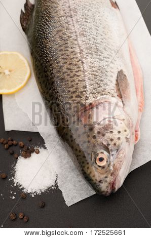 Whole trout fish with lemon salt and black pepper on a black background