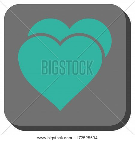 Love Hearts rounded button. Vector pictogram style is a flat symbol on a rounded square button cyan and gray colors.