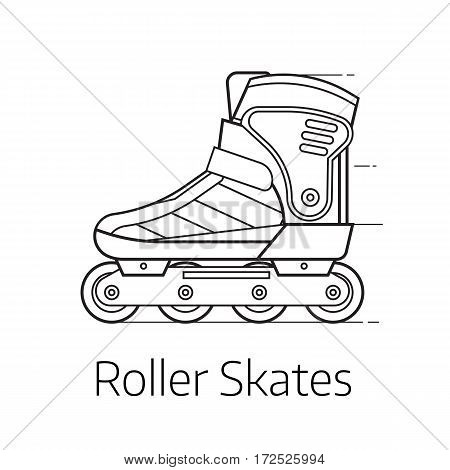 Modern roller skates vector illustration. Alternative city transport sport roller blades in thin line design. Personal transportation equipment.