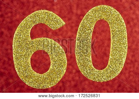Number sixty yellow color over a red background. Anniversary. Horizontal