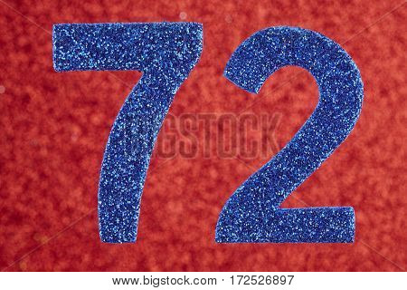 Number seventy-two blue color over a red background. Anniversary. Horizontal