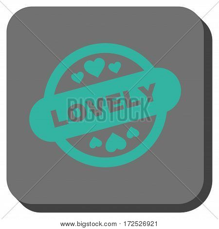 Lovely Stamp Seal toolbar button. Vector pictogram style is a flat symbol centered in a rounded square button cyan and gray colors.