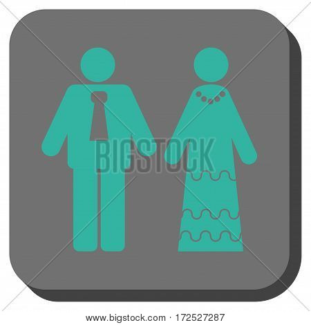 Newlyweds interface button. Vector pictogram style is a flat symbol in a rounded square button cyan and gray colors.