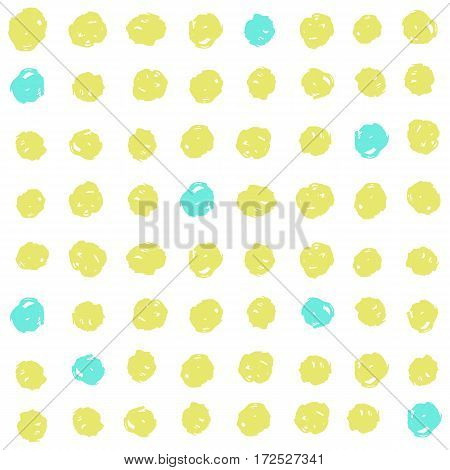 Cute green and blue dots background. Vector hand drawn seamless pattern