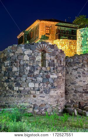 Night photo of reconstructed gate part of Sozopol ancient fortifications, Bulgaria