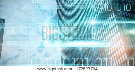 Blue technology design with binary code against view of office building