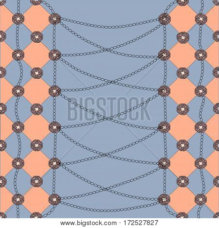 blue and orange diamond, the chain on peach background
