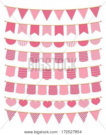 Pink bunting, design elements for decoration of greetings cards invitations etc, vector eps10 illustration