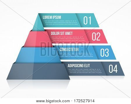 Pyramid chart with four elements with numbers and text, vector eps10 illustration