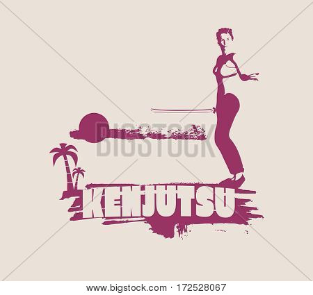 Kung Fu martial art silhouette of woman in sword fight pose. Woman posing on grunge brush stroke. Cloudscape and palm on backdrop. Kenjutsu text